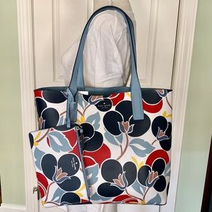 Kate spade mya breezy floral arch place Tote blue